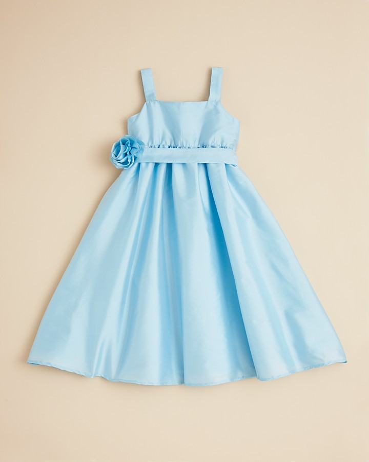 Us Angels Girls' Empire Waist Dress with Sash and Flower - Sizes 4-6X