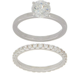 Diamonique Round Bridal Ring Set, Sterlingor 14K Clad