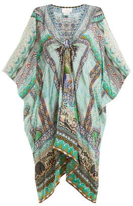 Camilla V Neck Printed Silk Chiffon Kimono Dress - Womens - Black Green