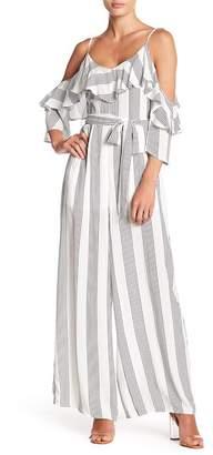FAVLUX Cold Shoulder Stripe Print Jumpsuit