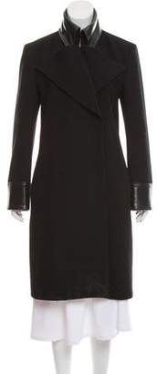 Dolce & Gabbana Wool Leather-Accented Coat