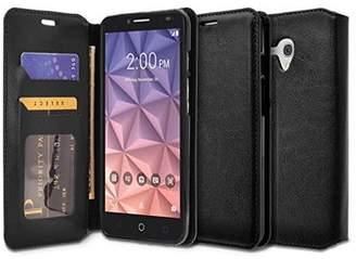 Pixi Alcatel OneTouch Fierce XL, Flint, Glory Case - Wydan Wallet Case Folio Flip Leather Kickstand Feature Credit Card Slot Style Cover Brown