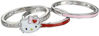 Hello Kitty Sterling Heart Bow Enamel Swarovski Crystal Shank and Enamel Bands Stackable Ring