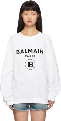 Balmain White Flocked Logo Sweatshirt