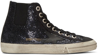Golden Goose Blue V-Star 1 High-Top Sneakers $495 thestylecure.com