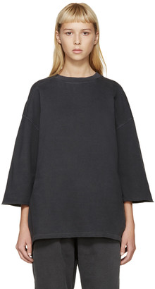 YEEZY Grey Cropped-Sleeve Pullover $455 thestylecure.com