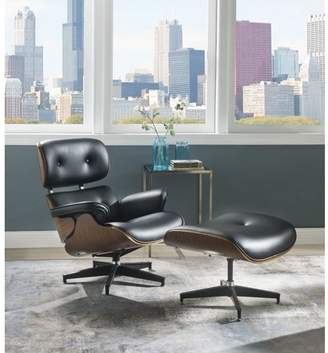 ACME Furniture Acme Keary Chair and Ottoman in Black Bonded Leather and Walnut