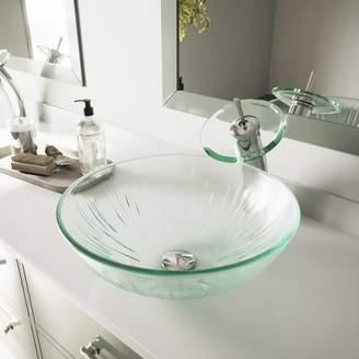 VIGO Icicles Tempered Glass Circular Vessel Bathroom Sink