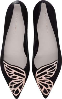 Sophia Webster Black Suede and Rose Gold Bibi Butterfly Flat Ballerinas