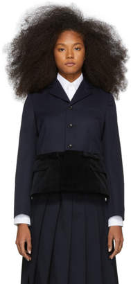 Comme des Garcons Navy and Black Panelled Blazer