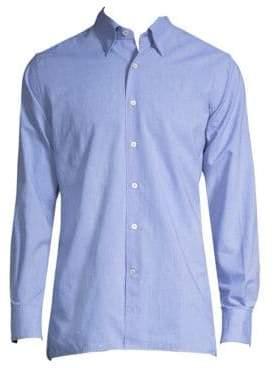 Canali Dotted-Print Cotton Button-Down Shirt
