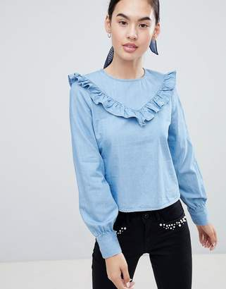 Only Siga Frill Front Denim Blouse
