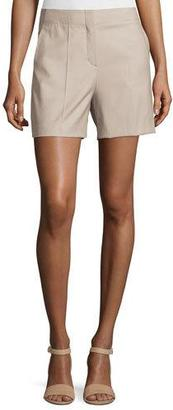 Theory Masibeth Continuous Wool-Blend Shorts, Gray Khaki $265 thestylecure.com