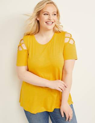 Lane Bryant Swing Tee with Caged Shoulder