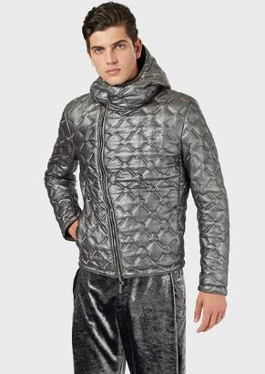 Emporio Armani Reversible Jacket In Metallic And Quilted Lambskin Nappa Leather