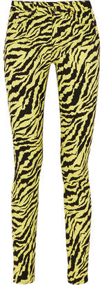 Gucci Neon Tiger-print High-rise Skinny Jeans - Yellow