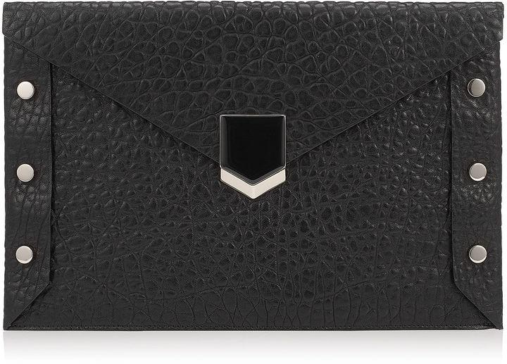 Jimmy ChooLOCKETT ENVELOPE Black Grainy Leather Clutch Bag