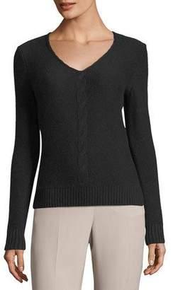 Loro Piana Kimberly V-Neck Cable-Knit Baby Cashmere Sweater