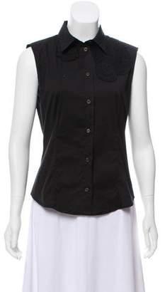 Prada Button-Up Sleeveless Blouse
