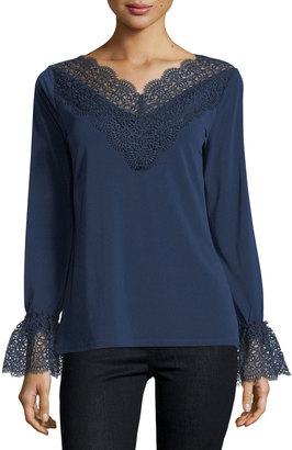 T Tahari Lace-Trim Knit Top $59 thestylecure.com
