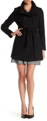 DKNY Double Breasted Stand Collar Wool Blend Trench Coat $325 thestylecure.com