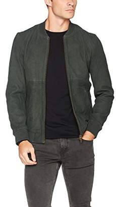 Scotch & Soda Men's Leather Bomber Jacket with Cut and Sewn Styling