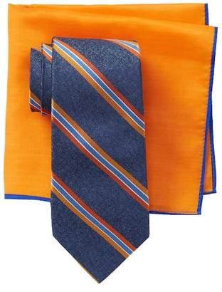 Ted Baker Melange Repp Stripe Tie & Pocket Square Set
