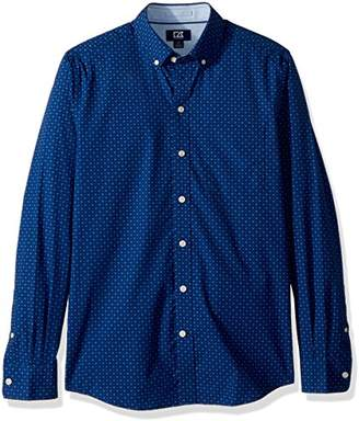 Cutter & Buck Men's Rowan Dot Print Spread Collar Long Sleeve Dress Shirt