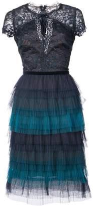 Marchesa tiered lace dress