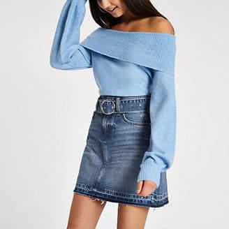 River Island Blue belted denim mini skirt