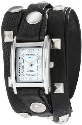 La Mer Women's LMLW1010B Stainless Steel Watch with Leather Wrap-Around Bands