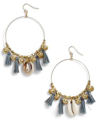 Chan Luu Tassel & Cowry Shell Hoop Earrings