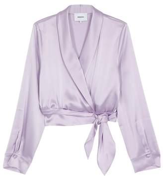 Nanushka Salome Lilac Satin Wrap Top