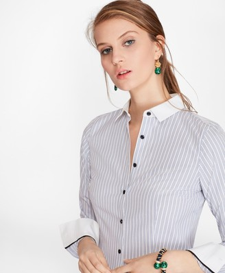Brooks Brothers Petite Non-Iron Tailored-Fit Striped Stretch-Cotton Poplin Shirt