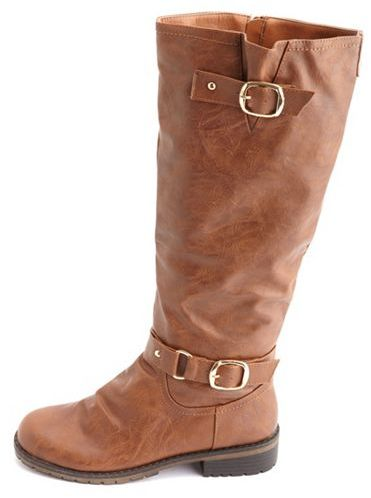 Charlotte Russe Distressed Double Buckle Flat Boot