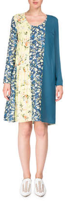 Acne Studios Jordy Mixed Floral-Print Scoop-Neck Chemise Dress