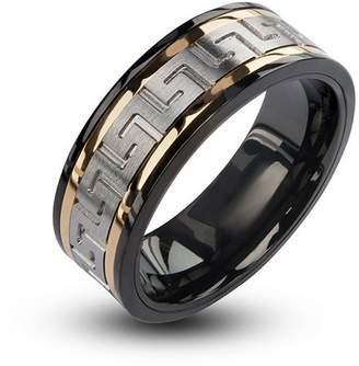 Inox INOX Jewelry Men's Stainless Steel Black IP Gun Metal With CZ Ring