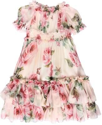 Dolce & Gabbana Roses Print Silk Chiffon Party Dress