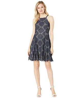 d4b218f368dcb Vince Camuto Halter Neck Lace Fit and Flare Dress