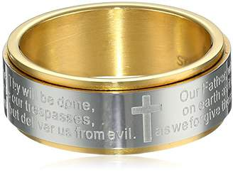 Cold Steel Men's Stainless Steel Yellow Immersion Plated Lord's Prayer Band