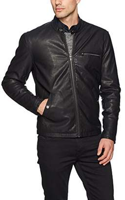 William Rast Men's Solomon Pu Leather Moto Jacket