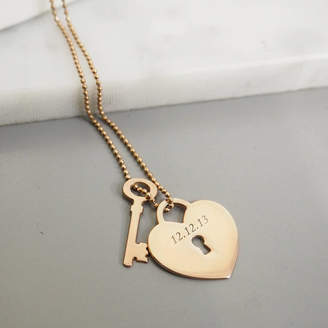 Anna Lou of London Personalised Heart Lock With Key Pendant
