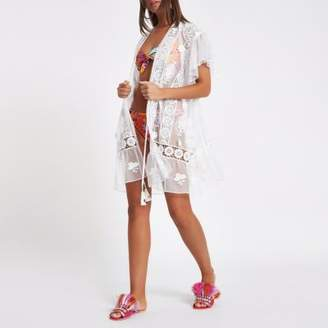 River Island Womens White lace embroidered beach cover up