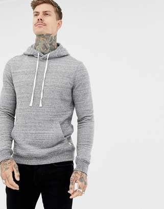 AllSaints textured hoodie in gray with ramskull logo tab
