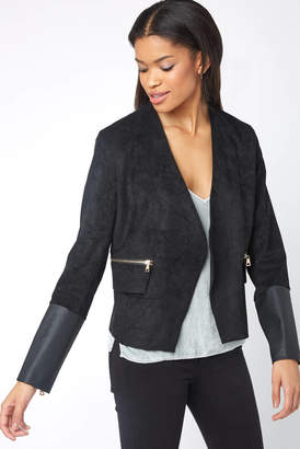Dolce Cabo Gold Zip Faux Suede Blazer