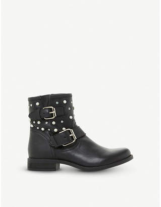 Steve Madden Cameo leather pearl and stud biker boots