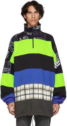 Balenciaga (バレンシアガ) - Balenciaga ブラック & グレー マルチカラー オーバーサイズ チムニー セーター