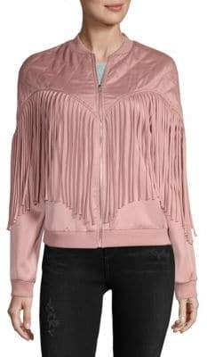 Endless Rose Fringed Bomber Jacket