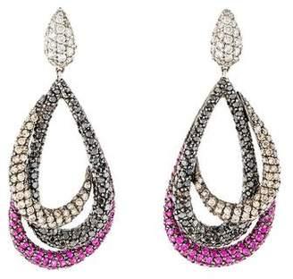 18K Diamond & Ruby Drop Earrings