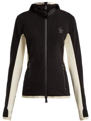 Moncler Panelled Hooded Technical Fleece Jacket - Womens - Black